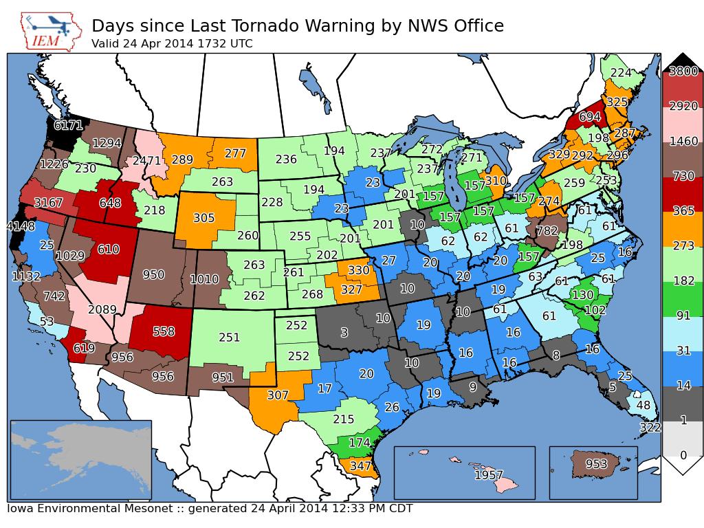 Days Since Last Tornado Warning